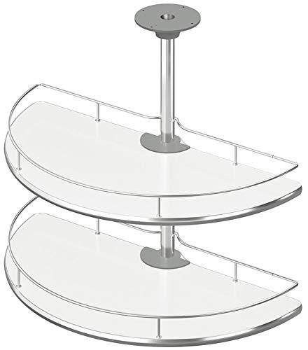 Gedotec Halbkreis-Drehbeschlag Schwenkbeschlag Küche Drehböden mit Tablarboden für Eckschrank | Drehteller Unter-Schrank | 900 x 900 mm | 1 Komplett-Set - Drehauszug mit 2 Drehkorb Ø 757 mm
