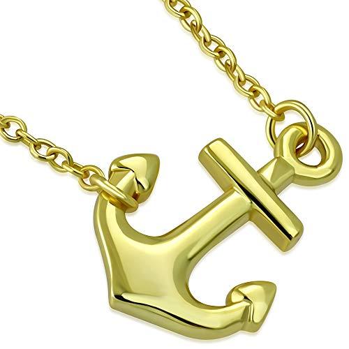 Argento sterling 925giallo oro classico lucido donna orizzontale lateralmente collana ciondolo ancora