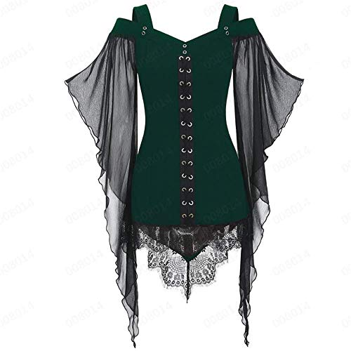 Aniywn Women Gothic Sexy Skirt Dress Lace Strappy Ruffle Club Dress Halloween Cold Shoulder T-Shirt Tops Green