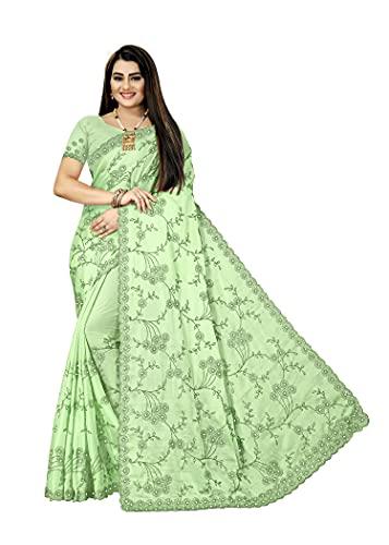 KRISNANSH SAREE Women's Rangoli Saree with Unstitched Blouse Piece