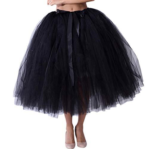 Falda de Tutu Mujer,SHOBDW Malla de Tul En Capas de Dama de Honor Mullido Regalo de La Fiesta de Bodas Traje de Baile de Princesa Falda Burbuja de Maternidad Falda(Negro)