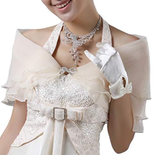 YO-HAPPY Mantón de Boda, Nupcial en Capas Volantes Bolero Diamante de imitación Bowknot Prom Boda Mantón Encogimiento de Hombros Abrigo