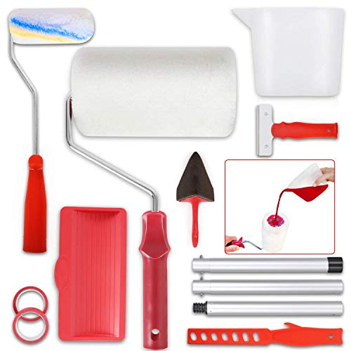 Paint Roller Set Paint Runner Pro Brush Kit Painting Handle Tool Set for House, School & Office Wall, Ceiling, Floor, Fence, No Prep, No Mess, Painting in Just Minutes (12 Pcs)