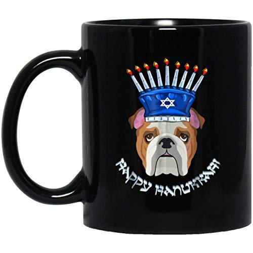 Bulldog Menorah Hat Hanukkah Chanukah Mug Black, Family Ceramic Coffee Mugs Saying White 11Oz