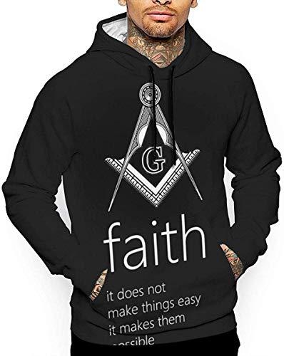 angwenkuanku Herren Hoodies Bedeutung des Glaubens 3D Full Print mit Taschen Pullover Sweatshirts