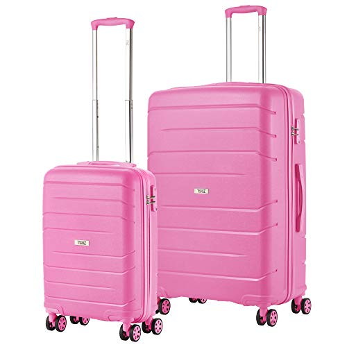 TravelZ Big Bars TSA Kofferset - 2 delige Trolleyset - Handbagage + Groot - Roze