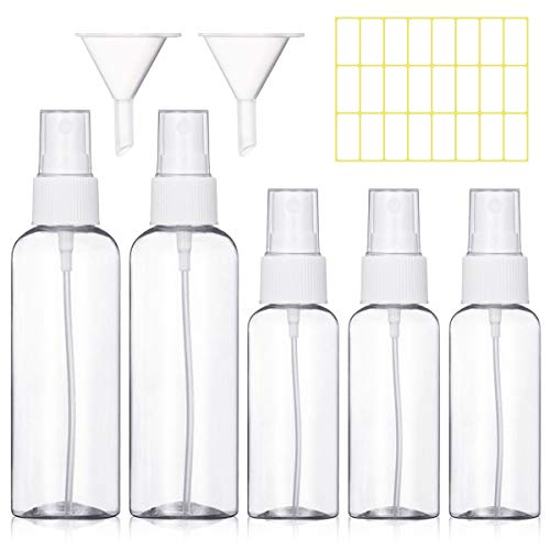 Bottiglie Spray Vuoto Trasparente Flacone Spray Plastica Fine Nebbia Bottiglia Set da Viaggio, 5 Pezzi (100 ML/50ML, Bianco)