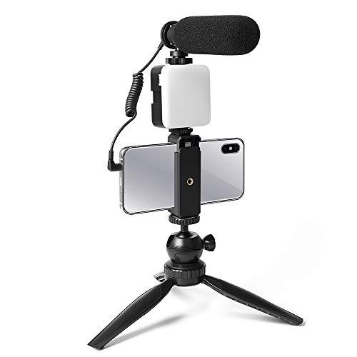 Smartphone-Kamera-Video Mikrofon-Kit,UHURU UCM-11PL Super-Cardioid-Shotgun-Podcast-Mikrofon mit LED-Licht,Stativ einstellen, Mini-Kugelkopf,Telefonhalter,kompatibel mit Telefon, Kamera,PC