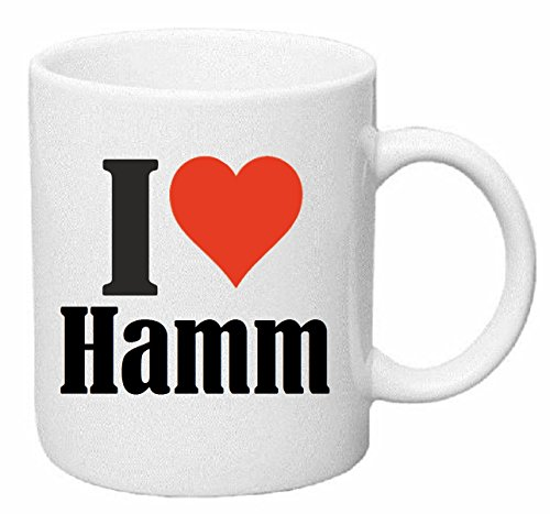Reifen-Markt Kaffeetasse I Love Hamm Keramik Höhe 9,5cm ? 8cm in Weiß