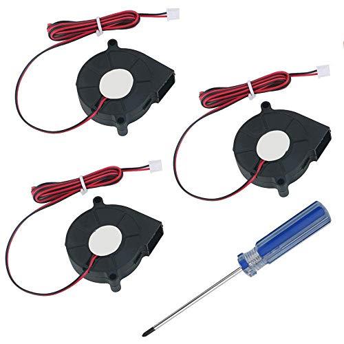 RUNCCI-YUN 3 Piezas Ventilador Turbina 12V 5015 50x50x15 mm - Ventilador de Enfriamiento DC 12V para Impresora 3D (Negro)