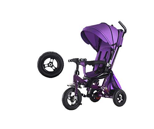 Triciclo de gama alta Triciclo Triciclo 4 en 1 Triciclo para niños, autos de pedal Triciclo para niños con toldo para niños de 12 meses a 6 años, niñas, carritos de pedal antideslizantes, carrito bidi