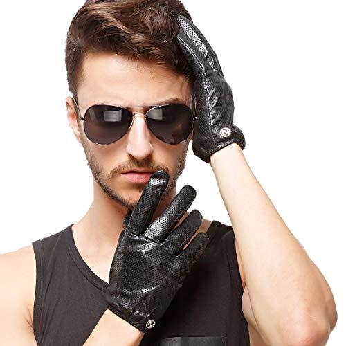 Mariisay Guantes De Cuero De Los Chic Pantalla Táctil Hombres Casual Invierno Guantes Perforados Calientes Conducción Venta de Moda De Motocicletas Moda Joven (Color : Black(T), Size : XL-Palm22.8)