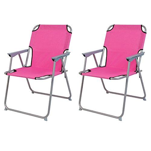2'er Set Campingstuhl Faltstuhl Stoff Oxfort Klappstuhl Anglerstuhl Regiestuhl Angelstuhl Metall B 53 x T 46 x H 74 cm, Farben:Pink