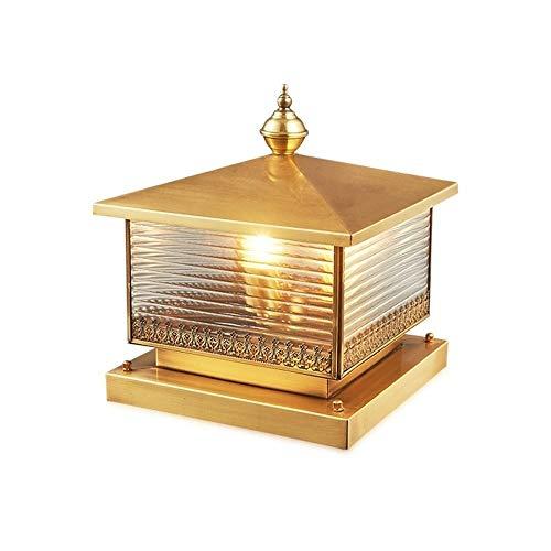 WHYA Luxuxgold Vintage-Säule Pfosten Licht All-Kupfer-Metallgartenzaun Säule Lampe Glasschirm Wasserdicht Retro Außen Beitrag Beleuchtung Built-in 2 Köpfen E27 Villa Gartentisch Laterne