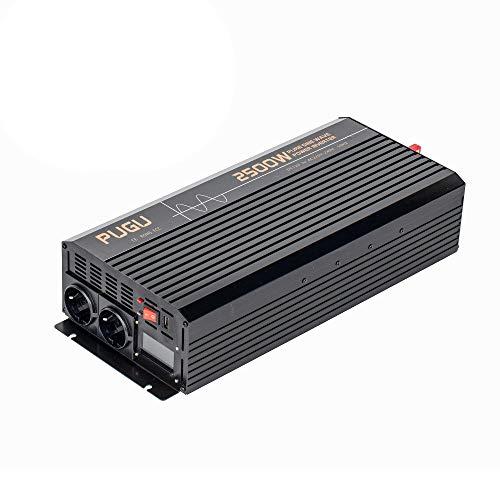 J-Love Inversor de Onda sinusoidal Pura, convertidor de energía de Coche de 2500 vatios DC 12V/24V a 110V/220V AC con 2 Salidas de CA y un Puerto USB, Pantalla LCD