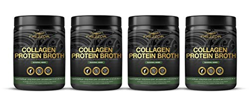 Collagen Protein Bone Broth, 100% Grass-Fed New Zealand Bovine Collagen Peptides Type I II III V VI VIII IX, Joint Pain, Anti-Aging, Weight-Loss, Improves Digestion, Seasonal Herbs Flavor, 4-Pack