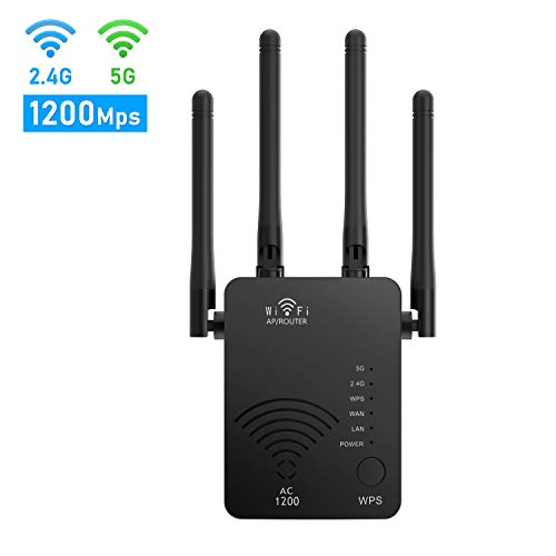 WiFi Range Extender 1200Mbps WiFi Signal Booster WiFi Repeater with Ethernet Port for Home Router Extender for Wireless Internet 2.4G & 5G Dual Band WiFi Amplifer