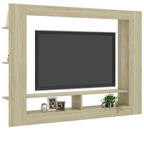 L.TSN Soporte para TV con 2 Compartimentos Abiertos y estantes de Almacenamiento Laterales Gabinete de televisión LED Multimedia para Sala de Estar, Dormitorio, Muebles para el hogar 59.8'x 8.7'
