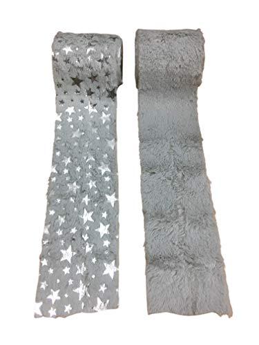 Home Collection Fellband Dekoband Kunstfell-Band Fell für Weihnachten Dekoration Nähen Basteln 8 x 180cm (2er Set Grau)