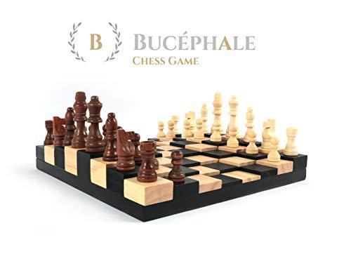 Bucephale Holzschachspiel 3D hohe Qualität Brett und Bauern Schachspiel Holz Schach Spiel Schachbrett schachtisch Geschenkidee Mann Frau Eltern Teenager Geschwisterkinder Chess Set Board