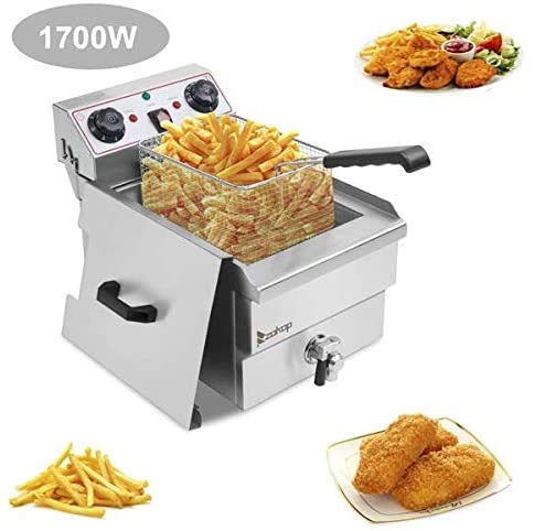 Single Tank Electric Deep Fryer with Basket, Stainless Steel, Easy to Clean Deep Fryer, Oil Filtration, Professional Grade, with Timers and Thermostats 12.5QT/11.8L