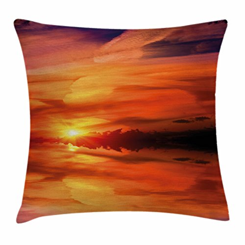 Ambesonne Nature Throw Pillow Cushion Cover, Dramatic Sunset Sky Clouds on Lake Horizon Twilight Creamy Scene Artwork, Decorative Square Accent Pillow Case, 16' X 16', Red Vermilion Marigold