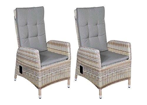 lifestyle4living Verstellbares Gartensessel-Set aus Rattan in beige, Sessel inklusive Rücken- und Sitzkissen, Rattansessel sorgt für einen geselligen Sommer im Garten
