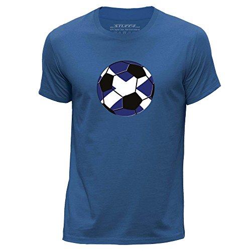 STUFF4 T-shirt met ronde hals voor heren, Schotse ruiten, voetbal XXL Negro
