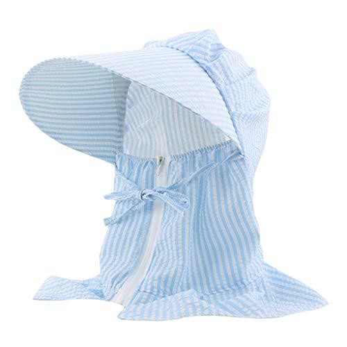 Andouy Halsklappe Sonnenhüte Breitkrempe UV-Schutz Gesichtsschutz Balaclava Neck Gaiter Sturmhaube Verstellbare Wanderkappe mit Reißverschluss(L.Blau)