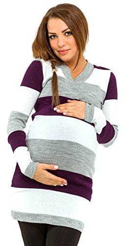 Happy Mama para Mujer Vestido de Punto premamá. Diseño Mixto de Rayas. 405p (Púrpura, 36-40, One Size)