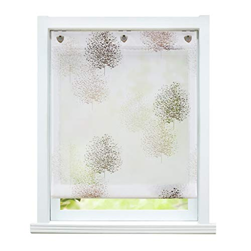 ESLIR Estor sin agujeros, cortina con ojales, transparente, cortinas con ganchos en U, estor moderno blanco con diseño de árboles, 120 x 140 cm, 1 pieza