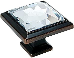 """10 Pack - Cosmas 5883ORB-C Oil Rubbed Bronze Cabinet Hardware Square Knob with Clear Glass - 1-1/4"""" Square"""