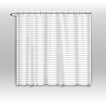 Vandarllin Hotel Quality Resistant Washable Fabric Shower Curtain Liner -96 x 72 Extra Wide Water-Repellent Elegant White Tonal Damask Stripe Eco Friendly & PVC-Free