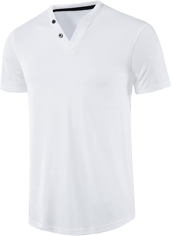 DELCARINO Mens Casual Henley Shirt Short Sleeve Slim Fit Fashion Basic T Shirts