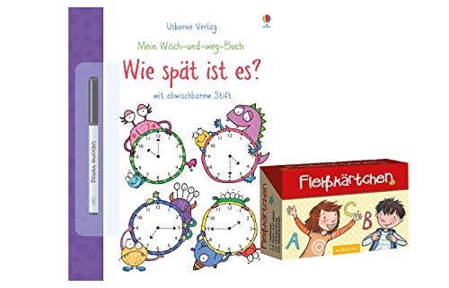 Mein Wisch-und-Weg-Buch: Wie spät ist es?: mit abwischbarem Stift (Taschenbuch) + Fleißkärtchen, Beschäftigungsbuch ab 4 Jahren