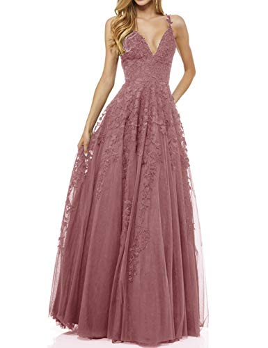 LuckyShe Damen Sexy V-Ausschnitt Abendkleider Ballkleid Elegant für Hochzeit Lang 2018 Altrosa Größe 32