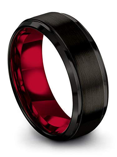 Chroma Color Collection Tungsten Carbide Wedding Band Ring 8mm for Men Women Red Interior with Black Exterior Step Bevel Edge Brushed Polished Comfort Fit Anniversary Size 11.5