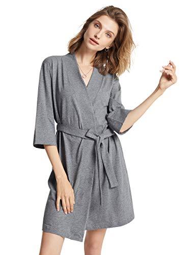 SIORO Donna Kimono Accappatoio Vestaglie Scollo a V Notte Vestaglia Camicia da Notte Corto Grigio Acciaio S