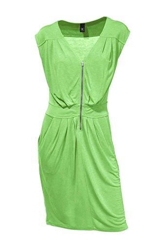 Heine - Best Connections Damen-Kleid Reißverschluß-Kleid mit Raffungen Grün Größe 38