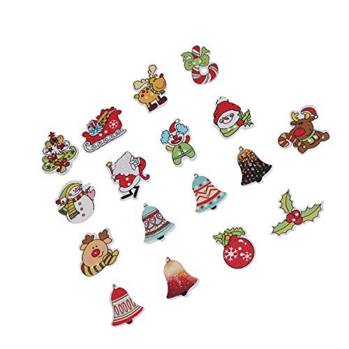 TOYANDONA 50 Piezas Navidad Botones de Madera árbol de Navidad Trineo Reno muñeco de Nieve Santa decoración Botones 2 Agujeros Botones para DIY Adornos navideños artesanía