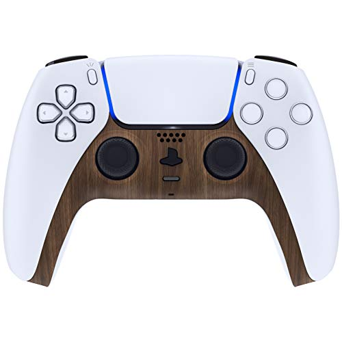 eXtremeRate Wood Grain Decorative Trim Shell for DualSense 5 Controller, Soft Touch DIY Replacement Clip Shell for PS5 Controller, Custom Plates Cover for Playstation 5 Controller w/Accent Rings