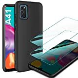 AROYI Funda Samsung Galaxy A41 & [2 Pack] Cristal Templado, Carcasa Silicona TPU Ultra Fina Alta Resistente y Flexibilidad Fundas Cover Caso para Samsung Galaxy A41-Negro