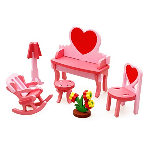 Iwinna 1 Set Colorful Wooden Doll Miniature House Accessories Furniture House Furniture Dollhouse Doll Decoration Accessories