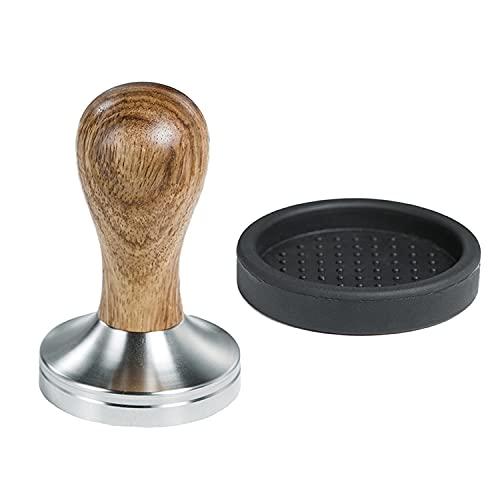 CreepyParty Tamper de café, 58 mm expreso prensa con estera 304 acero inoxidable base mango de madera para café molido barista máquinas espresso accesorio