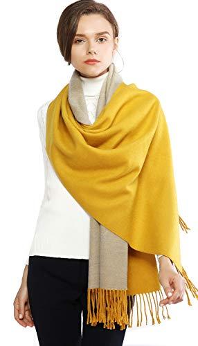 Chal amarillo mostaza estilo pashmina para invierno