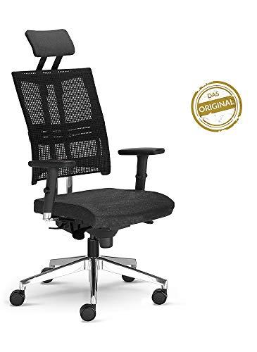 NOWY STYL Bürostuhl Net Motion mit 3D Armlehnen und Kopfstütze Schwarz