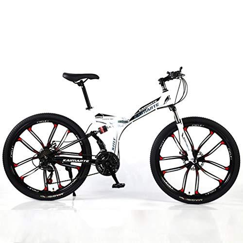 YUKM Diez radios de la Rueda Velocidad de Tres Bicicletas de montaña de conversión, Plegable portátil de Esquí de Bicicletas, Cinco Colores, Apto para Hombres y Mujeres,Blanco,26 Inch 24 Speed