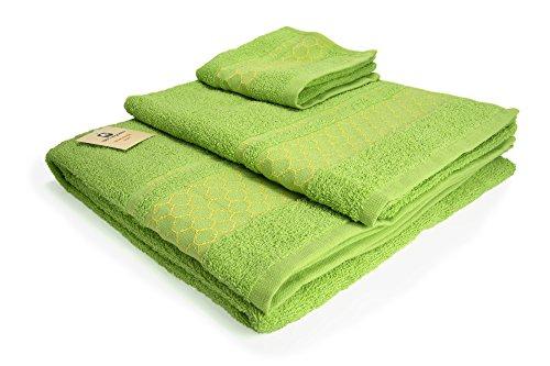 I LIKE Juego DE 3 Toallas 100% ALGODÓN - 1 Toalla de bidé (30x45 cm) 1 Toalla de Lavabo (50x90 cm) 1 Toalla de baño (100x140 cm) 380 gr Ref. Abeja Color Verde