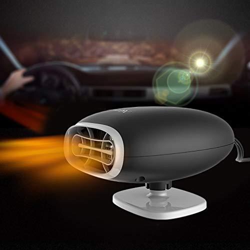 Huhu833 Auto Heizlüfter,12V USB Tragbar Fenster-Entfeuchter, 150W 360°Drehung Auto Heizung Kühler Trockner Lüfter Kühlventilator Windschutzscheibe Demister Abtauen (Schwarz)