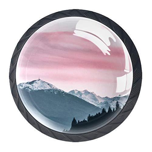 Tiradores de cajón para decoración de armario de cocina de oficina en casa,Cielo rosa con altas montañas